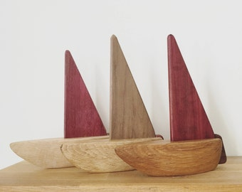 Small wooden toy boat