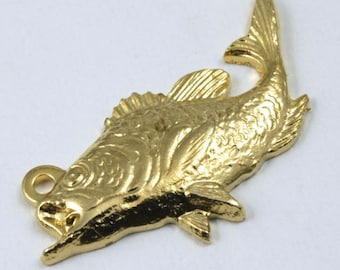 23mm Gold Trout Charm #1069