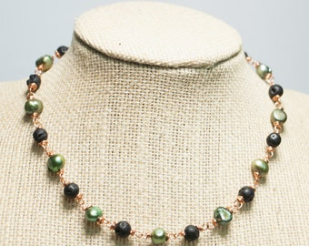 Green and Black Copper Collar Necklace Green Freshwater Pearls Black Lava Stone - Hidden Growth Copper Art Choker Necklace Series 7