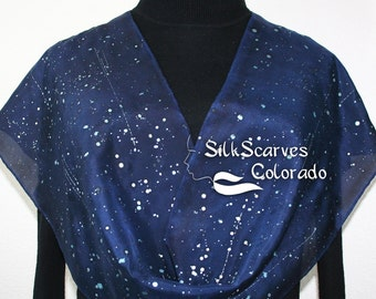 Blue Handpainted Silk Scarf Navy Blue, Ink Blue, Silver Hand Painted Shawl STARRY SKIES in Several SIZES. Anniversary, Birthday, Mother Gift