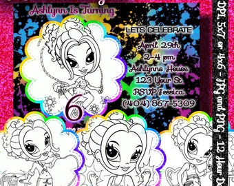COLOR ME INVITATIONS - Lisa Frank - Free Customization - 12 hour turn around - 5x7 or 4x6