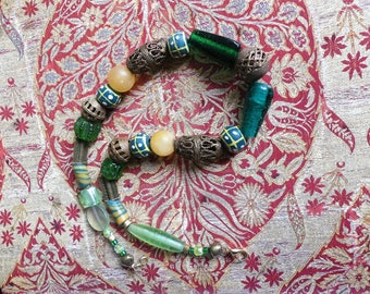African Beads, Necklace, Glass Beads, Ethno Style, old Powder Glass Beads Ghana, Bronze Beads