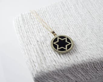 Star of David Gold Medal Pendant with Onyx Stone