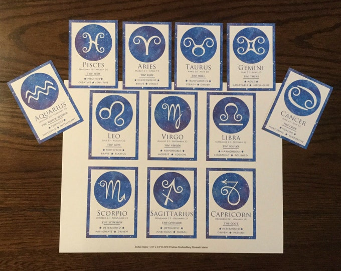 "Zodiac Signs Cards (2.5""x 3.5"") ~ Digital Download ~ Printable / Journal Cards / Label / Gift Tag / Bookmark / ATC Cards / Ephemera / Zodiac"