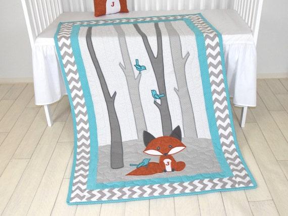Fox Blanket, Teal Chevron Gray Nursery, Baby Boy Quilt, Woodland Crib Bedding, Forest Blanket,  Custom Made