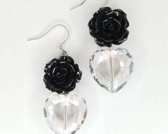 Black Rose + Crystal Heart Earrings