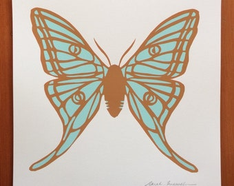 Moth Screen Print | Insect Art | Mint and Ochre | hand pulled print | wall art | decor | moth | butterfly | square art |