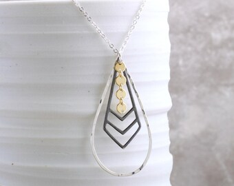 Chevron Necklace Mixed Metal Teardrop Necklace Silver Black Gold Drop Necklace Long Necklace Gift For Her Mixed Metal Jewelry