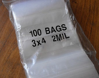 TAX SEASON Stock up 100 Pack White Block Zip Top Poly Pags 3 x 4 Inch Size Great for Beads,collectibles,stamps, etc.