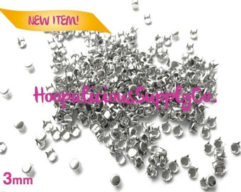 25pc 3mm ,6mm,7mm, or 9mm Round Flat Top 4 Prong Studs in Silver. You choose size. Fast Shipping from USA w/ Tracking 4 Domestic Orders.