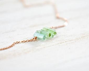 natural green tourmaline gemstone crystal sticks bar necklace pendant. rose gold filled chain. raw tourmaline crystal 'tiny' bar necklace