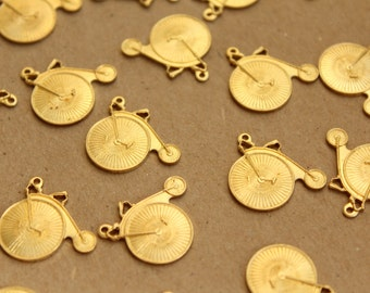 2 pc. Raw Brass Old Timey Bicycle Charms, Penny Farthing Bicycles: 18mm by 17.5mm - made in USA | RB-689