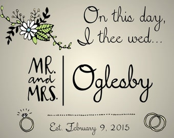 "PRINTABLE ""On This Day, I Thee Wed"" Wedding Date Sign - 3 Colors! - Custom Printable, Various Sizes"
