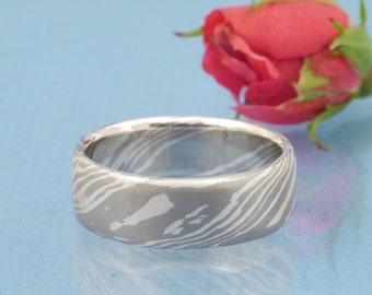 Mokume Gane ladys ring sterling silver and palladium size 55