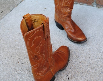 Vintage Square Toe Cowboy Boots - Tony Lama - Black Label - Peanut Brittle Brown - Made USA - Mens 7.5 D  Women 9.5