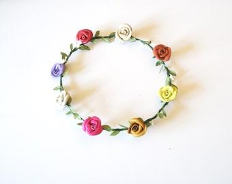 Sale Flower crown - colorful headband -wedding accessory-- Hair Accessory- Teen Headband. Adult Headband.