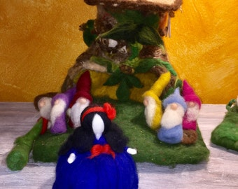Snow White and the Seven Dwarfs fairy tale and carded wool. In waldorf style