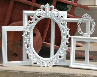 Antique White PICTURE FRAMES - Rustic Frames - Wedding - Vintage Collection - Shabby Chic Farmhouse - Distressed