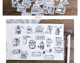 Vintage Dates Stickers Pack SM232321 45pcs
