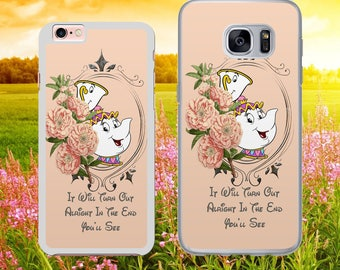 DISNEY INSPIRED Mrs Potts and Chip Beauty and the Beast Phone Case Cover for iPhone and Samsung Models - Safe Tracked Postage