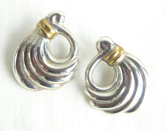 Mixed Metal Mexican Earrings Large Sterling Silver and Brass Modern Swirl Posts Vintage Taxco Mexico Jewelry