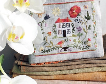 MAJA'S GARDEN 1. (summer) official printed paper cross stitch pattern, The Snowflower Diaries, seasonal, primitive, flowers, garden