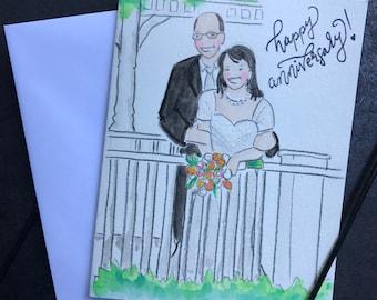 Custom watercolor Anniversary card