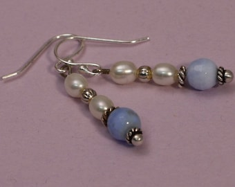 Blue Agate and Pearl earrings
