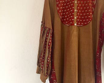 bohemian inspired-hand woven cotton and ajrak natural dye print tunic.