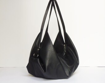 Black leather bag - Soft leather bag - Slouchy leather bag - Convertible purse - Leather Handbag - DeLUNA bag