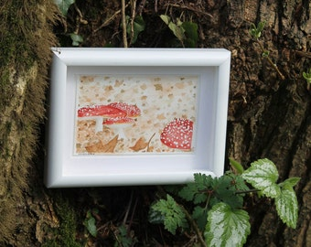 Autumn mushroom watercolour - woodland painting - original artwork