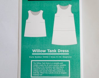 Grainline Willow Tank and Dress Pattern, Indie Sewing Pattern, Dress Sewing Pattern