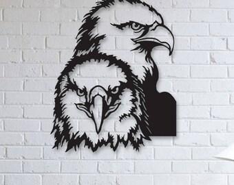 Eagle Metal Wall Art, Animals Metal Art, Wall Decor, Metallic Paint, Living Room Wall Decor, Bedroom Wall Decor, Metal Wall Hanging