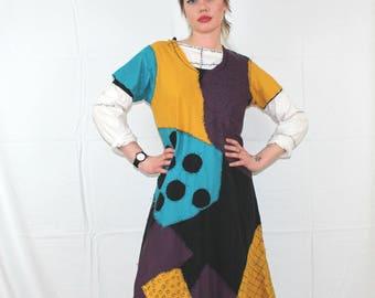Handmade Nightmare Before Christmas Sally Dress. Womens Patchwork Boho Sally Costume. Nightmare Before Christmas Halloween Costume Dress.