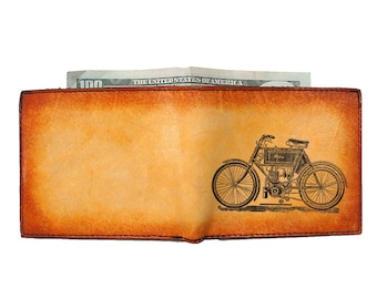 Mens Wallet - Engraved Wallet - Slim Leather Wallet - Motorbike