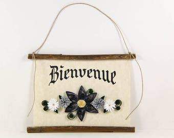 Bienvenue, French Welcome, Paper Quilled Welcome Sign, 3D Quilled Banner, Blue Grey White Decor, French Gift, Rustic Art, French Sign
