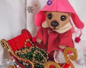 Rose, a girl with a sled. Teddy bear.