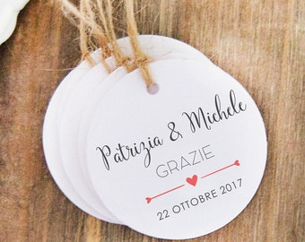 Personalized Labels Thank you, 24 wedding favor labels, marriage Tags, labels names newlyweds