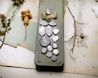Sampler Pack No. 6 - 8 Mother of Pearl Pairs - Lightly Dyed - 6 Types - Hearts, Coins, Hexagram, Fan, Buttons - Iridescent White
