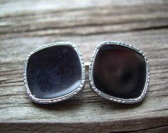 Black & Gold Krementz Mens Vintage cufflinks with extra collar link or something