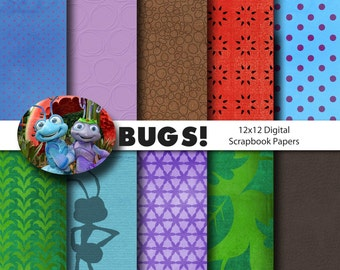 Disney Bug's Life Inspired 12x12 Digital Paper Pack for Digital Scrapbooking, Party Supplies, etc -INSTANT DOWNLOAD