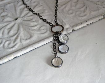Lace Drop Long Necklace Stained Glass Jewelry