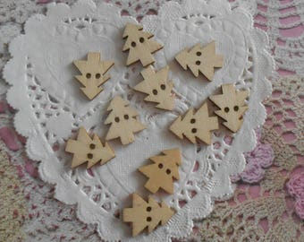 Button Christmas tree wooden 2 hole of 2.00 cm (with 10 buttons) for knitting or decoration.