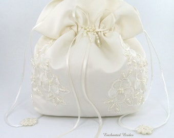 Satin Bridal Wedding SMALL Money Bag (#E1D4DB) with Pearl-Embellished Floral Lace for Dollar Dance, Bridal Purse & Other Special Occasions