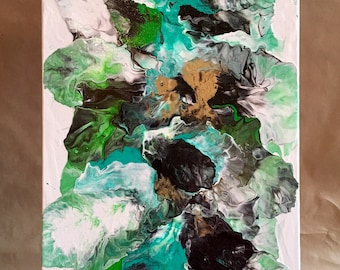 Original Acrylic and Pouring Medium on 12x24 Deep Gallery Wrapped Canvas