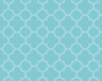 SPARKLE Aqua Quartrefoil, from Riley Blake Designs