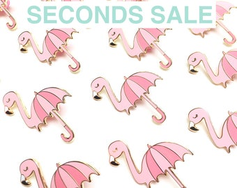 SECONDS SALE - Flambrella Pin, Hard Enamel Pin, Enamel pin, Flamingo pin, Lapel pin, Pin badge, Second Pins, B-grade, Imperfect, Defect