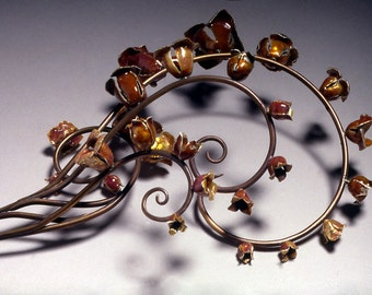 One of a kind-Hairpin- Mucha Spirals with orange bells