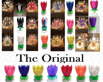 """1 or More """"You Choose The Color"""" Amazing Lotus Flower Happy Birthday Exciting Candles®"""