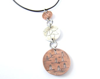 Love Maine Lighthouses Necklace, Copper and Sterling Stamped Pendant, Lighthouse Lover, Gift For Her, Nautical Jewelry